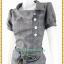 3158ชุดเดรสทำงาน เสื้อผ้าคนอ้วนทอลายสก็อตเทาเข้มทรงต่อเอวต่ำกระเป๋าล้วงสไตล์สปอร์ต โดดเด่นคอตลบบัวเอียงข้าง thumbnail 3
