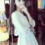 เสื้อแฟชั่นกึ่งเดรสคอปก สีขาว รูปทรงบานพริ้วสวยหวานสไตล์เกาหลี รหัส 1742 thumbnail 1
