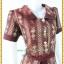 3715เสื้อผ้าคนอ้วนผ้าไทยทอลาย2หน้าเบรคลายด้วยผ้าพื้นปกแขนเอวกระดุมหน้าสไตล์ชุดภูมิฐานเป็นทางการ thumbnail 3