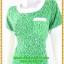 3094เดรสทำงาน เสื้อผ้าคนอ้วนสีเขียวลายผ้ามัดย้อมสไตล์ไทยๆแต่งคอและกระเป๋าสีขาวสะดุดตา thumbnail 3