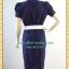 1211ชุดเดรสทำงาน เสื้อผ้าคนอ้วนมั่นใจสไตล์สาวเกาหลี ผ้าโซล่อน คอกลมจีบพับด้านหน้าอกดีไซน์หรู แขนตุ๊กตา เสริมชิ้นลอยที่กระโปรงพร้อมซับใน thumbnail 4