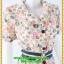 2969ชุดทํางาน เสื้อผ้าคนอ้วนลายดอกหลากสีปกเทเลอร์ใหญ่เดินระบายตามขอบปกเสื้อ ทรงสุภาพเรียบร้อยมีโบส้มเบรคลายคาดเอวพร้อมซับใน thumbnail 2
