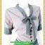 2813ชุดทํางาน เสื้อผ้าคนอ้วนผ้าลายตารางเล็กสีน้ำเงินแต่งปลายแขนสไตล์หรูเบาสบายรับลมหนาวคอผูกโบสไตล์สุภาพ เรียบร้อย มีซับใน thumbnail 2