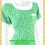 3094เดรสทำงาน เสื้อผ้าคนอ้วนสีเขียวลายผ้ามัดย้อมสไตล์ไทยๆแต่งคอและกระเป๋าสีขาวสะดุดตา thumbnail 2