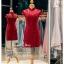 รหัส ชุดกี่เพ้า : KPS034 ชุดกี่เพ้าประยุกต์ผ้าลูกไม้ ชุดกี่เพ้าสวยๆ ราคาถูก ใส่งานหมั้น ยกน้ำชาสีแดง เพิ่มความงามลายลูกไม้สวยๆ thumbnail 1