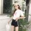 กางเกงยีนส์แฟชั่นผสมผ้าลูกฟูกแต่งขาดๆ ขาสั้นสีดำ-1609-3 size S/M/L thumbnail 2