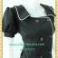 2186เสื้อผ้าคนอ้วน ชุดทำงานดำผ้าฮานาโกะ คอเหลี่ยมปกปีกนก กระดุมคู่ แขนตุ๊กตากุ๊นขาวยาวด้านหน้ามีระดับสไตล์ออริจินัลคลาสสิค thumbnail 2