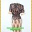 3043ชุดแซกทำงาน เสื้อผ้าคนอ้วนผ้าลูกไม้ดำปูซับในส้มคลุมด้วยลายกราฟฟิคแต่งระบายปกแขนสไตล์หรูเนี๊ยบ thumbnail 4