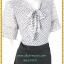 3276 ชุดเดรสคนอ้วน เสื้อผ้าคนอ้วนผ้าชีฟองขาวดำลายเล็กแต่งปลายแขนสไตล์หรูเบาสบายรับลมร้อนคอผูกโบสไตล์สุภาพ เรียบร้อย มีซับใน thumbnail 2