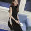 เสื้อแฟชั่นตัวยาวผ่าข้างสูงสองข้าง คอกลม แขนกุดสวยหวานสไตล์เกาหลี-1685-สีดำ thumbnail 1