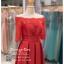 รหัส ชุดไปงานแต่งงาน : PF161 ชุดราตรียาว แบบมีแขน โอบไหล่ เปิดไหล่ สีแดง ผ้าไหมปักลูกไม้ สวยหรูดูดีแบบเจ้าหญิง ใส่ไปงานแต่งงานกลางคืน งานกาล่าดินเนอร์ ชุดงานเลี้ยง ชุดพิธีกร งานพรอม งานบายเนียร์ งานเดินพรหมแดง ถ่ายพรีเวดดิ้ง สวยมาก thumbnail 3