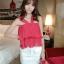 เสื้อเกาะอก ระบายสองชั้น สายเส้นใหญ่สไตล์เกาหลี-4สี-1085 thumbnail 20