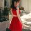 ชุดเดรสแฟชั่น แขนกุด สไตล์แบรนด์ดัง -1285-สีแดง thumbnail 1