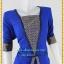 3167ชุดทํางาน เสื้อผ้าคนอ้วนผ้าไทยสีน้ำเงินแต่งพื้นและลายคั่นด้วยกุ้นสี แขนยาว สไตล์เนี๊ยบสุดหรูมีรสนิยมเลือกชุดทำงาน thumbnail 2