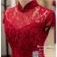 รหัส ชุดกี่เพ้า : KPS034 ชุดกี่เพ้าประยุกต์ผ้าลูกไม้ ชุดกี่เพ้าสวยๆ ราคาถูก ใส่งานหมั้น ยกน้ำชาสีแดง เพิ่มความงามลายลูกไม้สวยๆ thumbnail 3