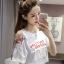 เสื้อครอปแฟชั่นแขนสั้นแต่งเก๋เปิดไหล่ซ้ายเจาะห่วงติดโบว์น่ารักสไตล์เกาหลี- 1605 thumbnail 1