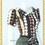 1994ชุดเดรสทำงาน เสื้อผ้าคนอ้วนลายจุดกลมน้ำตาลปกหยัก กระดุมหน้า สไตล์สาวช่างเลือก ผ้าเนื้อนิ่มลื่นกระโปรง6ชิ้นทรงหางปลา thumbnail 2