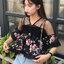 เสื้อครอปแฟชั่นชีฟอง แต่งระบายลายดอกไม้น่ารักสไตล์เกาหลี -1653 thumbnail 1
