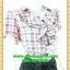 2659เสื้อผ้าคนอ้วน ชุดทำงานคอพวงระบาย ชุดกระโปรงดำแต่งคู่เสื้อสีโอรสลายตารางสไตล์หวานน่ารักแขนตุ๊กตามีจีบเล็กน้อยเก็บรายละเอียดมากให้ได้ความสวยงาม thumbnail 2