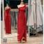 รหัส ชุดราตรียาวคนอ้วน : PK008 ชุดแซก ชุดราตรียาวมีแขน หรู สีแดง ไหล่เดียว ผ้าไหม เรียบหรู เหมาะสำหรับงานแต่งงาน งานกลางคืน กาล่าดินเนอร์ thumbnail 1