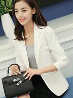 เสื้อสูทผู้หญิงใส่ทำงานไหล่ตุ๊กตาเข้ารูป สไตล์เรียบหรู(มี 5 ไซส์ S/M/L/XL/XXL)-1650-สีขาว