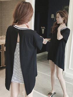 เสื้อแฟชั่นกึ่งเดรสคอกลมแขนสั้น แต่งเสื้อคลุมแหวกหลังสวยเก๋สไตล์เกาหลี รหัส 1669-สีดำ