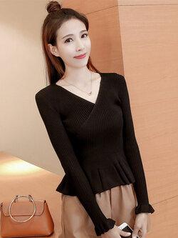 เสื้อไหมพรมแฟชั่น คอวี เอวเข้ารูปชายระบายสวยหวาน-1538-สีดำ