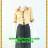 1903ชุดแซกทำงาน เสื้อผ้าคนอ้วนผ้าวาเลนติโน่เนื้อเงาผิวแวววาวสไตล์เชิ๊ตแขนยาวครึ่งศอกปลายแขนตุ๊กตา