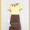 3180ชุดทำงานผ้าไทยแต่งปกสลับสีตัดลายบริเวณขอบคอและแขนสีเหลืองสดใสสไตล์เรียบง่ายอินเทรนด์