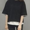 เสื้อยืดแฟชั่น คอกลม แขนสั้น ต่อผ้าคอตตอลชายเสื้อ-1491-สีดำ