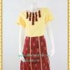 3174ชุดทำงานคนอ้วนผ้าไทยสีเหลือง คอกลมแต่งจีบด้านหน้าโดดเด่นด้วยกระโปรงผ้าไทยแยก10ชิ้นทรงเอสไตล์หวานสุภาพเรียบร้อย