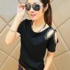 เสื้อยึดแฟชั่น คอกลมแต่งไหล่ เก๋ เก๋-1441-สีดำ