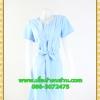 2596เสื้อผ้าคนอ้วน ชุดทำงานสีฟ้าวันแม่คอกลมแทรกชิ้นกลางอกพร้อมตีเกล็ดสไตล์เรียบเก๋กระโปรงย้วยเล็กน้อย