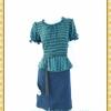 1940ชุดเดรสทำงาน เสื้อผ้าคนอ้วนผ้าหางกระรอกพิมพ์ลายข้าวหลามตัดสุดคลาสสิคโดดเด่นด้วยระบายคอ แขนและเอวทรงสุภาพเรียบร้อยชุดคู่กระโปรงน้ำเงินเข้ม