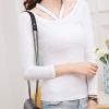 เสื้อยืดแฟชั่น คอกว้างแขนยาว สายคล้องคอวี -1481-สีขาว