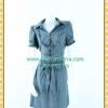 1957ชุดเดรสทำงาน เสื้อผ้าคนอ้วนผ้าตาราง ปกเชิ๊ตกระดุมหน้าทรงสุภาพกระโปรงจีบเรียบร้อย ลวดลายเทรนด์เกาหลี