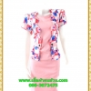 2972ชุดทํางาน เสื้อผ้าคนอ้วนสีชมพูคอกลมคลุมด้วยตัวสั้นชั้นนอกลายดอกหวานสไตล์เนี๊ยบเรียบง่าย