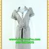 1980ชุดเดรสทำงาน เสื้อผ้าคนอ้วนตาสก็อตแต่งปกขาวและใต้คอสไตล์ทรงแฟชั่นทำงานสุภาพ