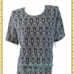3248เสื้อคอกลมสีเทาผ้าลูกไม้ยืดลายฉลุซับในตัวเสื้ออก44-48เอว40-44