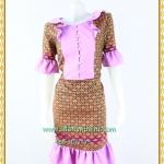 3193เสื้อผ้าคนอ้วนผ้าไทยสีม่วงทอลายสองหน้ารีดกาวด้านในเพิ่มความเนี๊ยบให้ชุดอยู่ทรงสวยสวมใส่หรูมั่นใจ