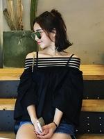 เสื้อแฟชั่นคอกว้าง โชว์ไหล่ น่ารักสไตล์เกาหลี-1484-สีดำ