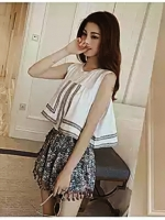 ชุดเซทแขนกุด กางเกงขาสั้นแต่งพู่ Asian Style-สีขาว