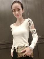 เสื้อยืดแฟชั่นแขนยาวไหมพรมแต่งไหล่สไตล์เรทโทร-1440-สีขาว