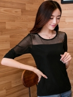 เสื้อแฟชั่น คอกลมแขนยาว ผ้าชีฟองสวยหรู-สีดำ