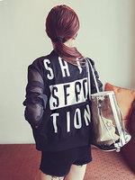 เสื้อคลุมแฟชั่นผ้าแก้ว แต่งปริ้นSATISFACTIONด้านหลัง-1499-สีดำ