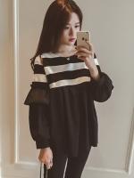 เสื้อยืดแฟชั่น คอกลม แขนยาวแต่งครึ่งบนลายริ้ว น่ารักสไตล์เกาหลี