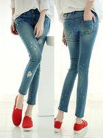 กางเกงยีนส์แฟชั่น ขาดๆ แต่งหยดสีขาวเล็กน้อยสไตล์ยุโรป-2ไซส์-1566