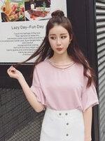 เสื้อยืดแฟชั่น ดีไซน์แต่งสายคล้องคอ 2 เส้นคู่ สวย เก๋ สไตล์เกาหลี-1553-สีชมพู