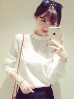 เสื้อแฟชั่นคอพับจีบ แขนยาวแขนซีทรู ใส่ทำงานสวยหรูสไตล์เกาหลี-1564-สีขาว