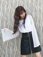 เสื้อยืดแฟชั่นคอกลม แต่งแขนยาวด้วยด้ายดิ้นเงินสวยเท่ห์สไตล์เกาหลี-1582-สีขาว